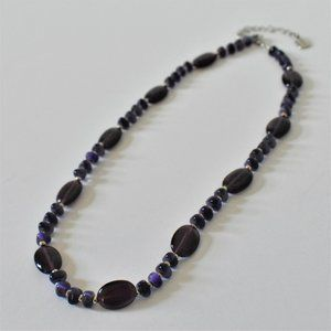 Chaps Silver Tone and Purple Glass Bead Necklace